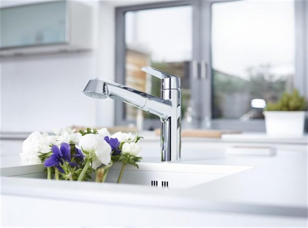 Kitchen tap with low spout