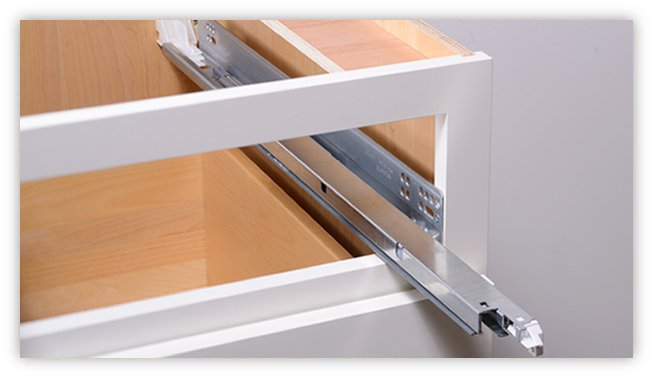 Kitchen cabinet drawer-glide